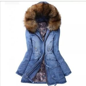 Casual Winter hooded thick denim jacket